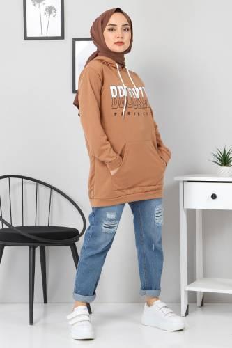 Tesettür Dünyası - Kapşonlu Sweatshirt TSD3318 Vizon