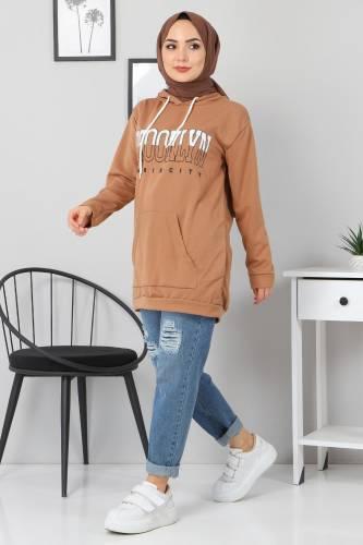 Tesettür Dünyası - Kapşonlu Sweatshirt TSD3318 Vizon (1)