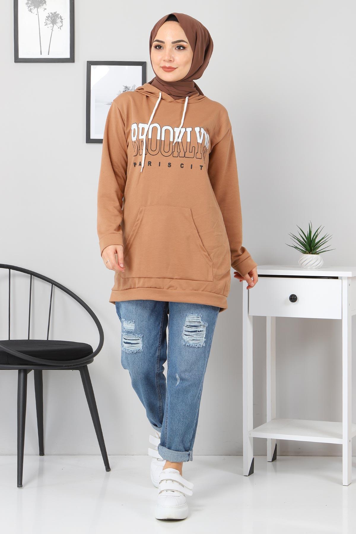 Kapşonlu Sweatshirt TSD3318 Vizon