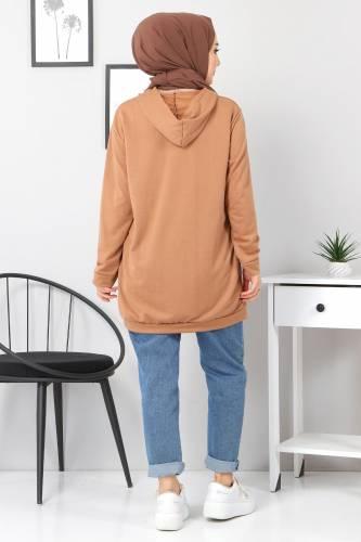 Kapşonlu Sweatshirt TSD3318 Vizon - Thumbnail