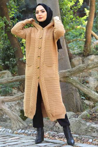 Tesettür Dünyası - Hooded Full Length Knitwear Cardigan TSD2487 Light Brown