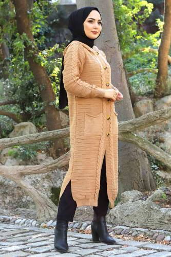 Tesettür Dünyası - Hooded Full Length Knitwear Cardigan TSD2487 Light Brown (1)