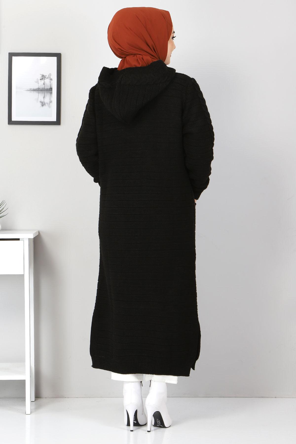 Kapşonlu Tam Boy Triko Hırka TSD2487 Siyah