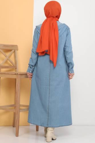 Kapüşonlu Kot Kap TSD81999 Açık Mavi - Thumbnail