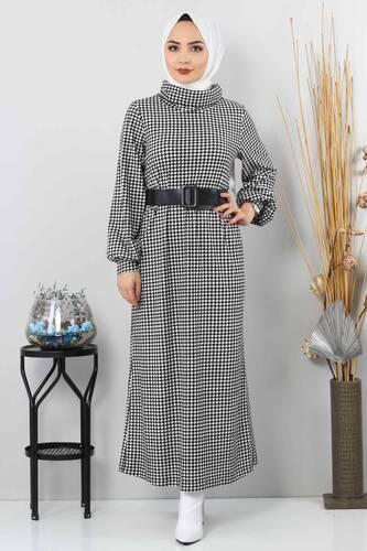Tesettür Dünyası - Kaz Ayağı Desenli Elbise TSD0038 Siyah