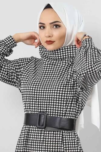 Tesettür Dünyası - Kaz Ayağı Desenli Elbise TSD0038 Siyah (1)