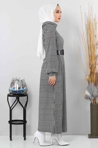 Kaz Ayağı Desenli Elbise TSD0038 Siyah - Thumbnail