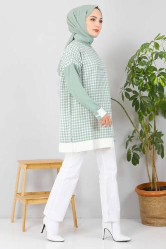 Kazayağı Desenli Triko Tunik TSD2015 Mint Yeşili - Thumbnail