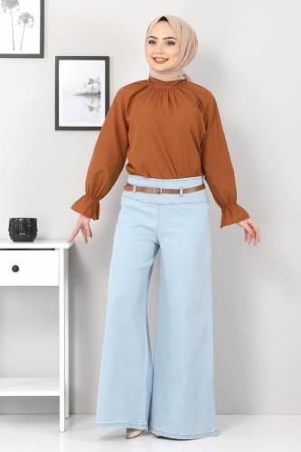 Tesettür Dünyası - Kemerli Bol Paça Kot Pantolon TSD22046 Açık Mavi
