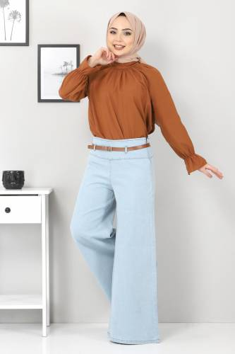 Tesettür Dünyası - Kemerli Bol Paça Kot Pantolon TSD22046 Açık Mavi (1)