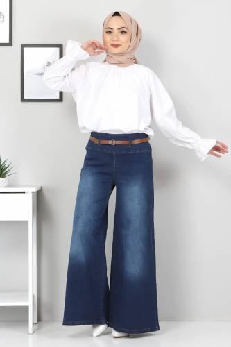Tesettür Dünyası - Kemerli Bol Paça Kot Pantolon TSD22046 Koyu Mavi