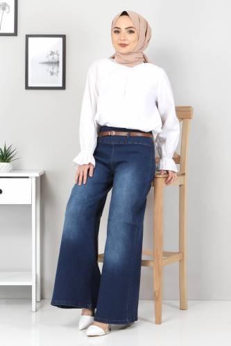 Tesettür Dünyası - Kemerli Bol Paça Kot Pantolon TSD22046 Koyu Mavi (1)