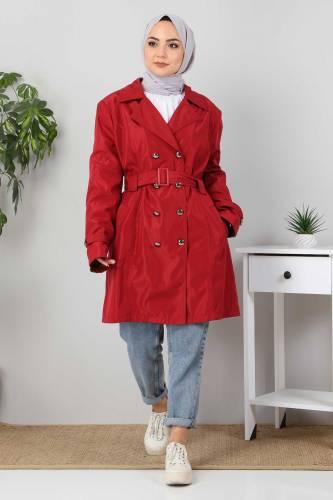 Tesettür Dünyası - Belted Short Trench Coat TSD5503 Claret Red