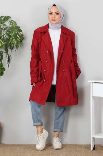 Tesettür Dünyası - Belted Short Trench Coat TSD5503 Claret Red (1)