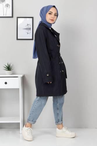 Tesettür Dünyası - Belted Short Trench Coat TSD5503 Navy Blue (1)