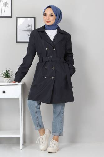 Tesettür Dünyası - Belted Short Trench Coat TSD5503 Navy Blue