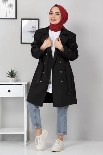 Tesettür Dünyası - Belted Short Trench Coat TSD5503 Black