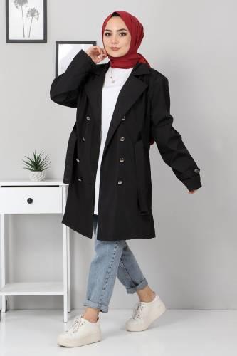 Tesettür Dünyası - Belted Short Trench Coat TSD5503 Black (1)