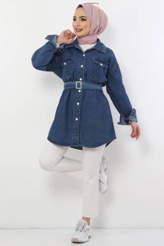 Tesettür Dünyası - Kemerli Kot Ceket TSD8579 Koyu Mavi