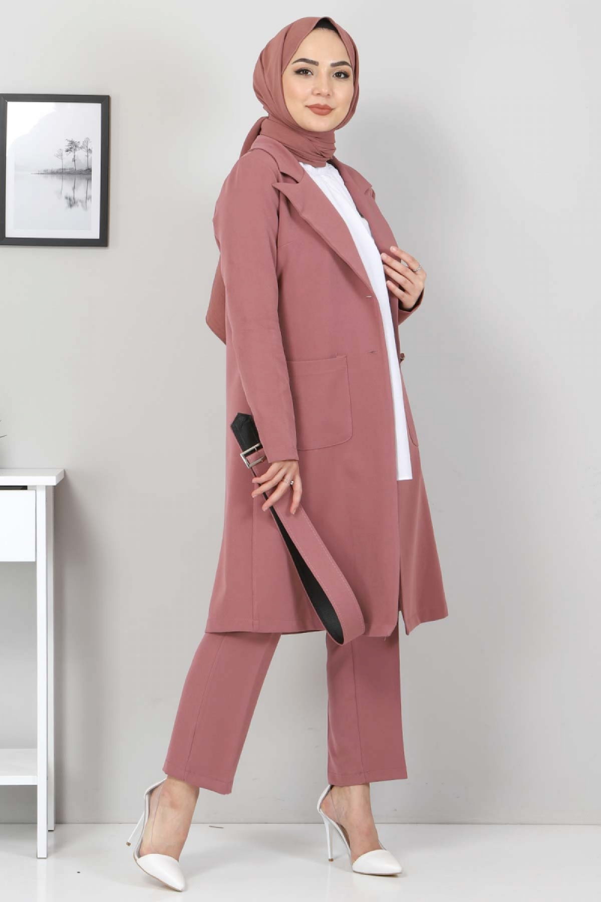 Kemerli Pantolon Ceket İkili Takım TSD10498 Gül Kurusu