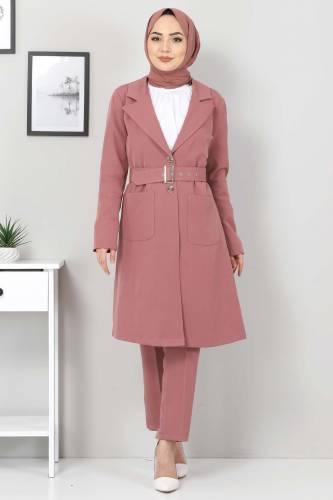 Tesettür Dünyası - Kemerli Pantolon Ceket İkili Takım TSD10498 Gül Kurusu (1)
