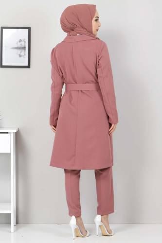 Kemerli Pantolon Ceket İkili Takım TSD10498 Gül Kurusu - Thumbnail