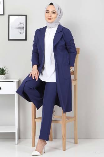 Tesettür Dünyası - Kemerli Pantolon Ceket İkili Takım TSD10498 İndigo