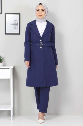 Tesettür Dünyası - Kemerli Pantolon Ceket İkili Takım TSD10498 İndigo (1)