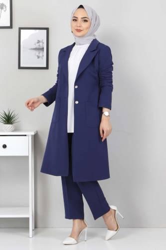 Kemerli Pantolon Ceket İkili Takım TSD10498 İndigo - Thumbnail