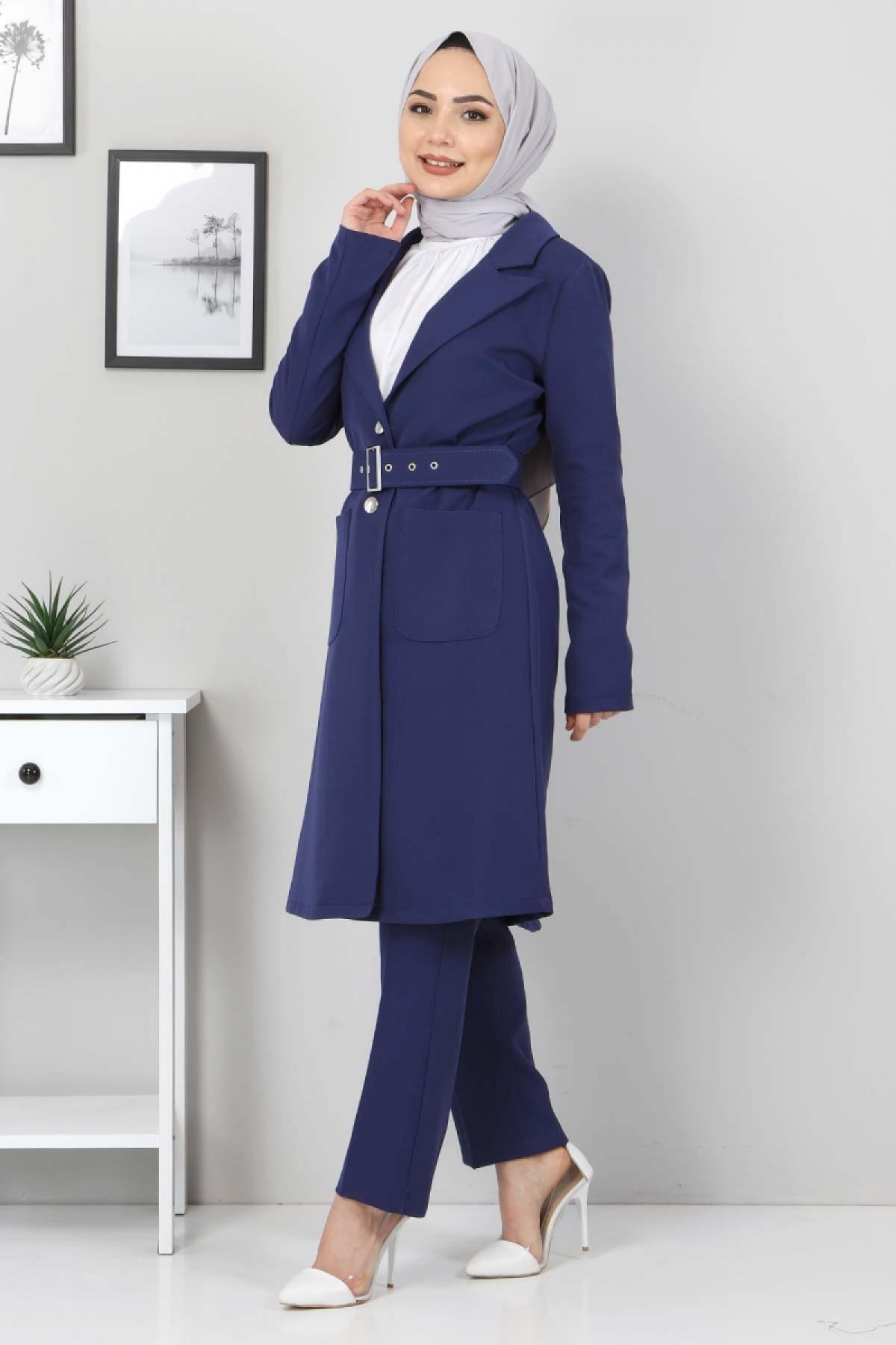 Kemerli Pantolon Ceket İkili Takım TSD10498 İndigo