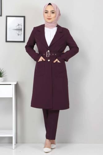 Kemerli Pantolon Ceket İkili Takım TSD10498 Mürdüm - Thumbnail