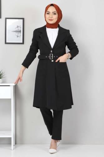 Tesettür Dünyası - Kemerli Pantolon Ceket İkili Takım TSD10498 Siyah