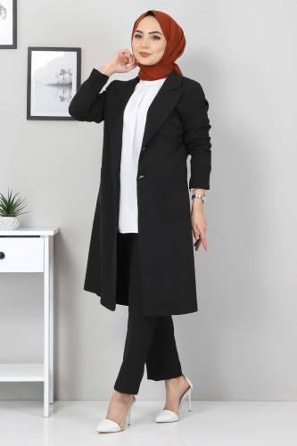 Tesettür Dünyası - Kemerli Pantolon Ceket İkili Takım TSD10498 Siyah (1)
