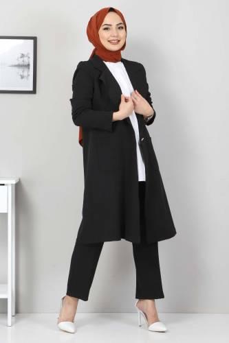Kemerli Pantolon Ceket İkili Takım TSD10498 Siyah - Thumbnail
