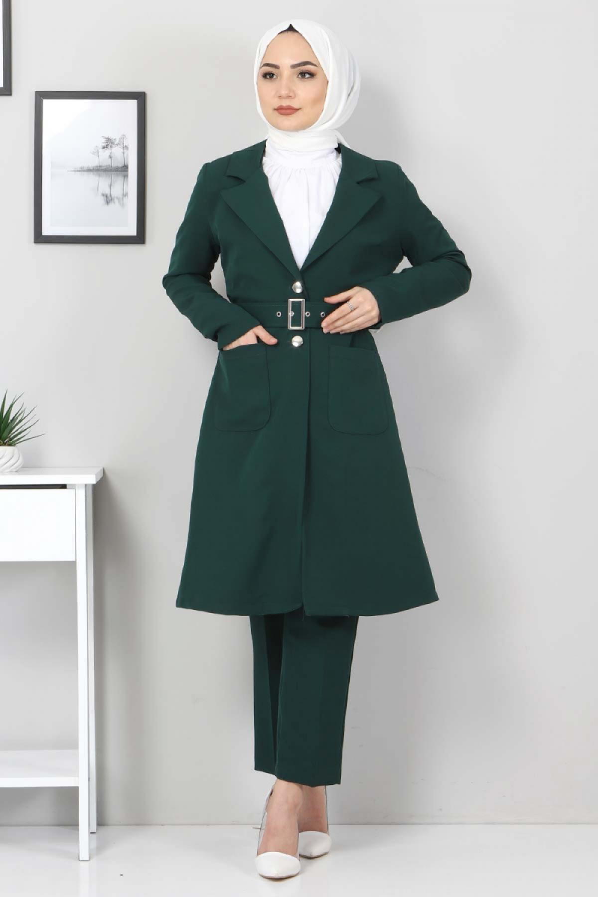 Kemerli Pantolon Ceket İkili Takım TSD10498 Zümrüt