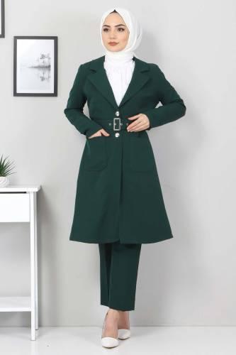 Tesettür Dünyası - Kemerli Pantolon Ceket İkili Takım TSD10498 Zümrüt