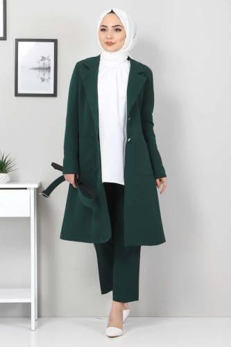 Tesettür Dünyası - Kemerli Pantolon Ceket İkili Takım TSD10498 Zümrüt (1)