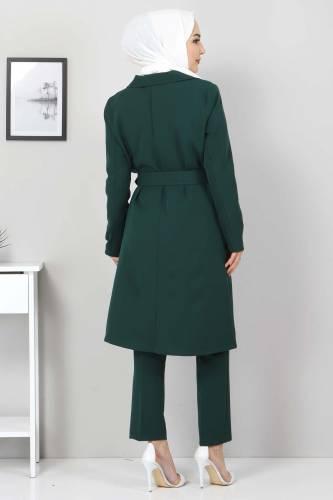 Kemerli Pantolon Ceket İkili Takım TSD10498 Zümrüt - Thumbnail