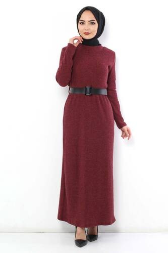 Tesettür Dünyası - Kemerli Triko Elbise TSD1742 Bordo