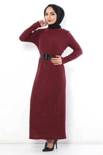 Tesettür Dünyası - Kemerli Triko Elbise TSD1742 Bordo (1)
