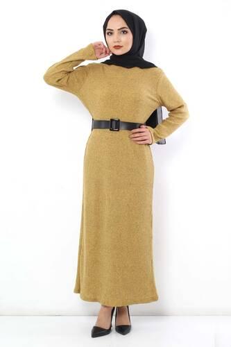 Tesettür Dünyası - Kemerli Triko Elbise TSD1742 Hardal