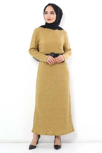 Tesettür Dünyası - Kemerli Triko Elbise TSD1742 Hardal (1)