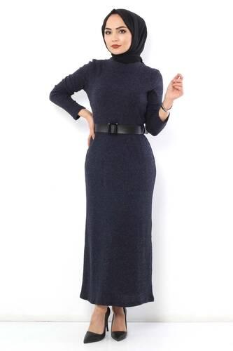 Tesettür Dünyası - Kemerli Triko Elbise TSD1742 Lacivert