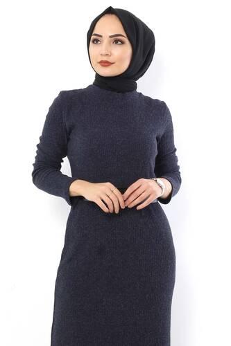 Tesettür Dünyası - Kemerli Triko Elbise TSD1742 Lacivert (1)