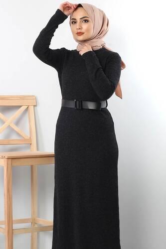 Kemerli Triko Elbise TSD1742 Siyah - Thumbnail