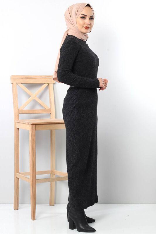 Kemerli Triko Elbise TSD1742 Siyah