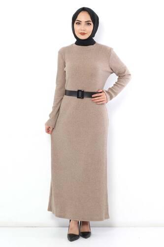 Tesettür Dünyası - Kemerli Triko Elbise TSD1742 Bej