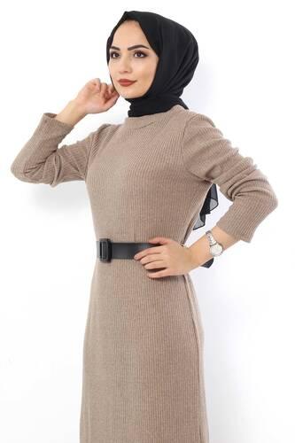 Tesettür Dünyası - Kemerli Triko Elbise TSD1742 Bej (1)