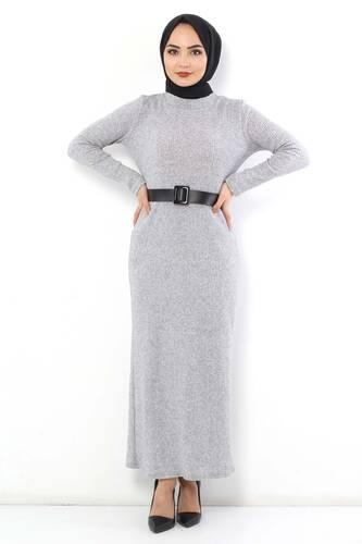 Tesettür Dünyası - Kemerli Triko Elbise TSD1742 Gri