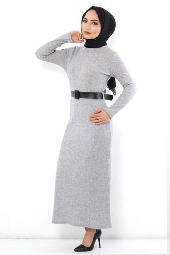 Tesettür Dünyası - Kemerli Triko Elbise TSD1742 Gri (1)